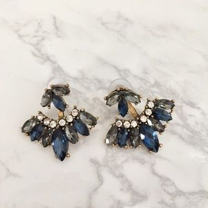 Blue and Smoky Grey Rhinestone Ear Jkt earrings