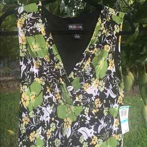 Style & Co Tops - Sleeveless green and yellow floral blouse