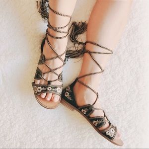 Forever 21 Shoes - Lace Up Embroidered Gladiator Sandals