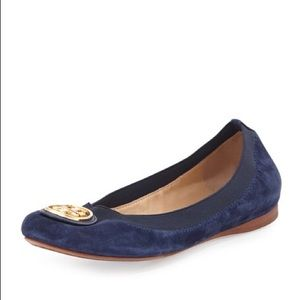 Tory Burch Shoes - Tory Burch Navy Suede Caroline Flats 10.5