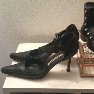 Manolo Blahnik Black ankle straps 38.5 or size 8.5