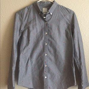 Gap denim look polkadot button down shirt