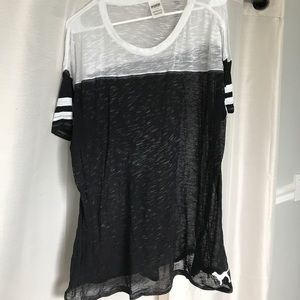 PINK Victoria's Secret Tops - VS PINK Grey and White See Through Shirt Size L/XL