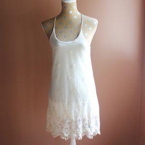 NWT cream lace slip dress
