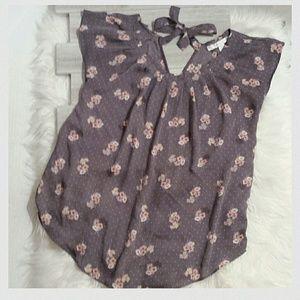 "Lauren Conrad Tops - Lauren Conrad ""Purple/Grey Floral"" blouse"