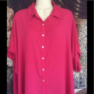 Tops - Pink Bat Sleeve Blouse