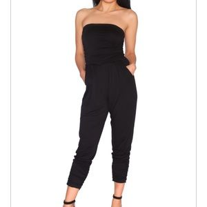 Pants - STRAPLESS BLACK JUMPSUIT
