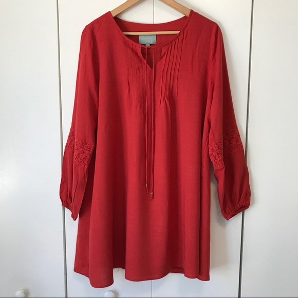 Skies Are Blue Dresses - Stitch Fix Skies Are Blue Red Lace Tunic Dress XS