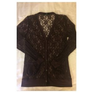 Dark purple lace long v-neck cardigan