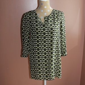 Anthro green patterned silk mini dress