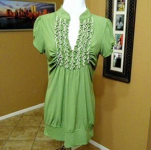 HeartSoul Tops - HeartSoul Stretchy Green Ruffled Top
