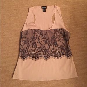 Central Park West Tops - Tan silk looking tank with black lace