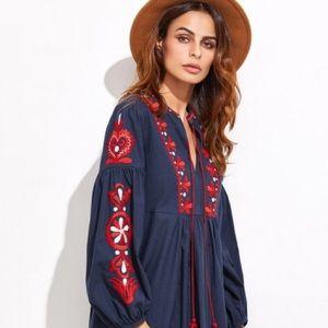 Shein Embroidered Tassel Smock Dress - NWOT