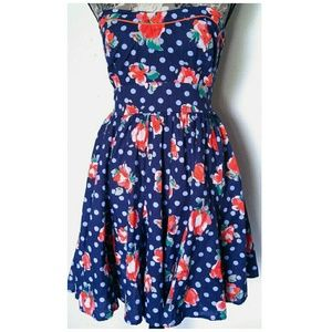 Fire Los Angeles Dresses & Skirts - Sz M Floral and polka dot strapless dress