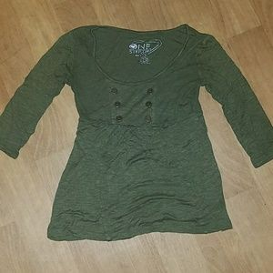Tops - Olive green, flowy, 3 quarter sleeve top
