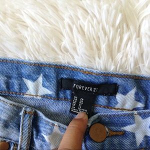 Forever 21 Shorts - FOREVER21 light blue distressed star wash shorts