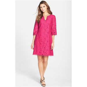Adrianna papell fringed floral lace shift dress 8