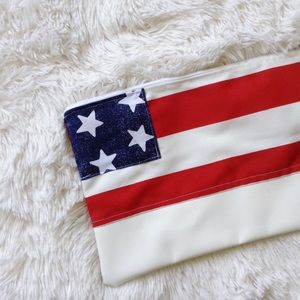 American flag clutch cloth+vegan leather