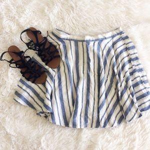 FOREVER21 blue+white striped mini circle skirt