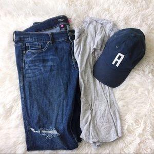 TORRID distressed blue ankle jeans