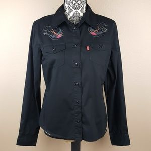LEVI'S Black Button Up Embroidered with Birds