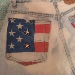 The Laundry Room Pants - High Waisted Levi American Flag Denim Shorts