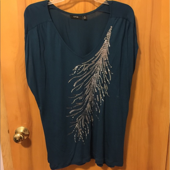 553fea690c60be Apt. 9 Tops - Apt. 9 Teal Top w  Silver Sequin Feather XL