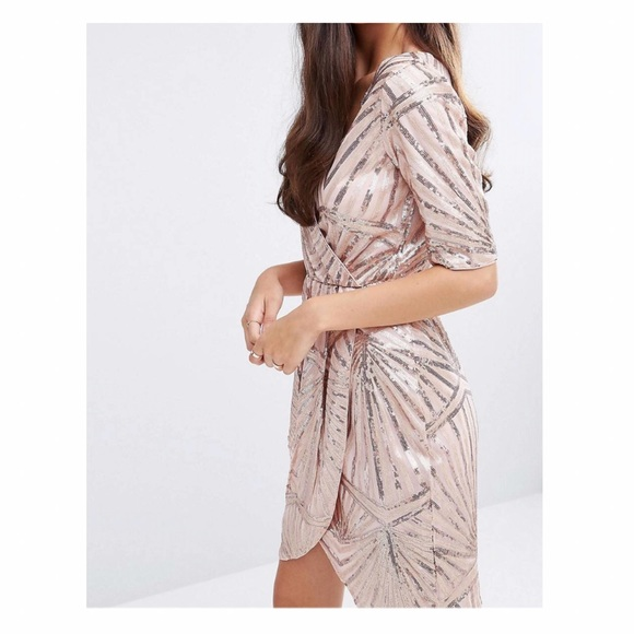 5417919c23d Asos - New Kimono Wrap Sequin Dress in Rose Gold from Meth .