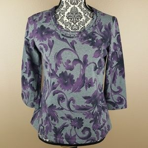 Croft & Borrow Purple Flower Grey 3/4 Sleeve Top