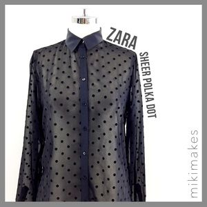  ZARA • black velvet polka dot button down
