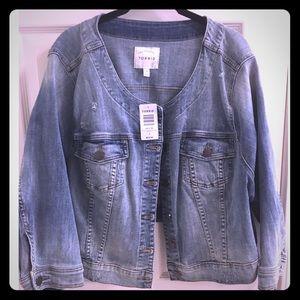 torrid Jackets & Blazers - Torrid Crop Collarless Denim Jacket in 4x
