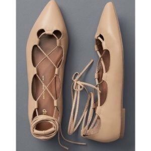 Gap Lace-up Nude Leather Flats