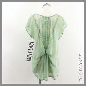 Mint short sleeve lace knot back blouse