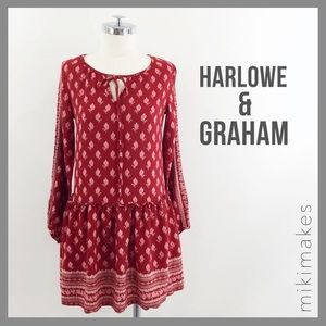 [ harlowe & graham ] red floral tunic dress