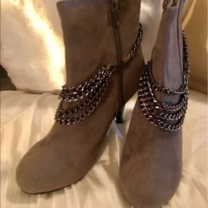 other Shoes - boots booties gray suede with chain accents NEW