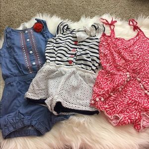 Other - 3 girls rompers size 4T