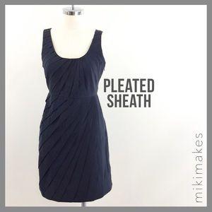 [ madison marcus ] black silk pleat sheath dress
