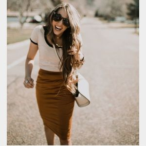 Cognac Stretchy Skirt
