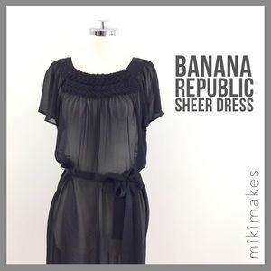 [ banana republic ] black silk chiffon sheer dress