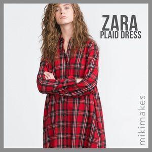 Zara Dresses & Skirts - 🆕 ZARA • NWT red plaid shirt dress button down