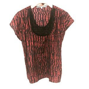 Collective Concepts Tops - Collective Concepts Red & Black Beaded Blouse