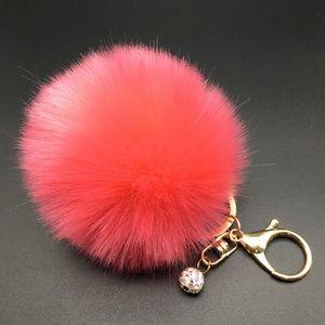 •new• hot pink Pom Pom keychain