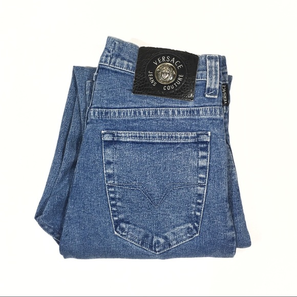 5b2e52152b849 Vintage 90s Versace High Waisted Tapered Mom Jeans.  M 5950bcc799086a9036039f83