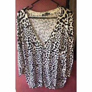Sweaters - Plus Size Cheetah Print Cardigan