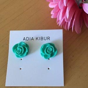 Adia Kibur Jewelry - Mint Julep Floral Rose Earrings