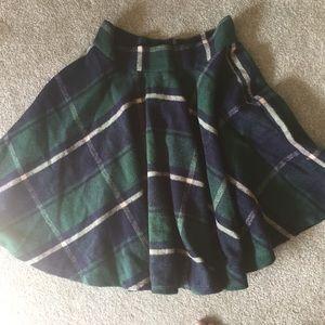 Flannel plaid skirt