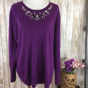 Sweaters - Plus Size Purple Sweater Embellished Sequins 3x