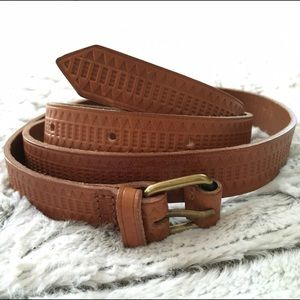 Madewell Mayla Geo Embossed Leather Belt, XS/S
