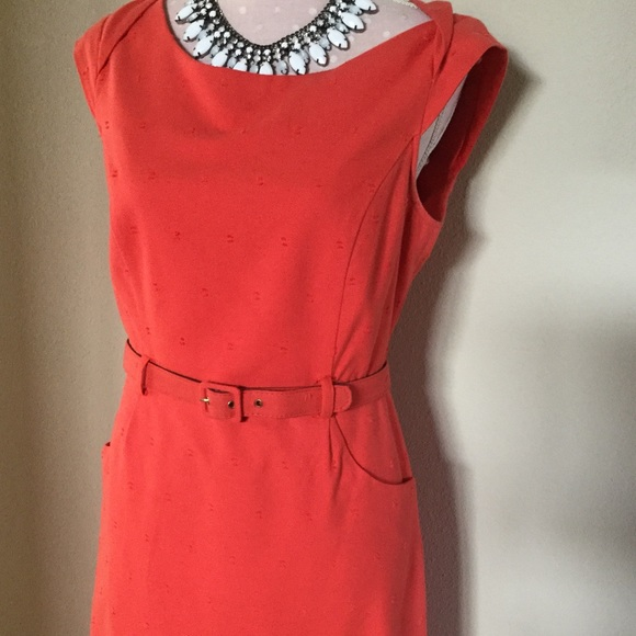 merona coral matching belt dress size 8 from warrior04
