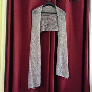 mj Accessories - Grey Silver knitted scarf,  silver sequence.  new